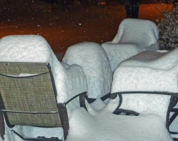Patio chairs with snow cushions