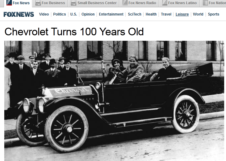 happy birthday  chevrolet  the great auto maker is 100 years old today