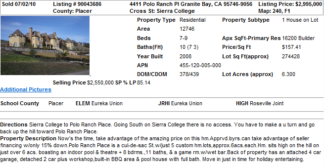 Largest Home in Granite Bay, CA (Sold in 2010)