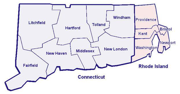 Recreational Opportunities By County In Connecticut And Rhode Island - Rhode island county map