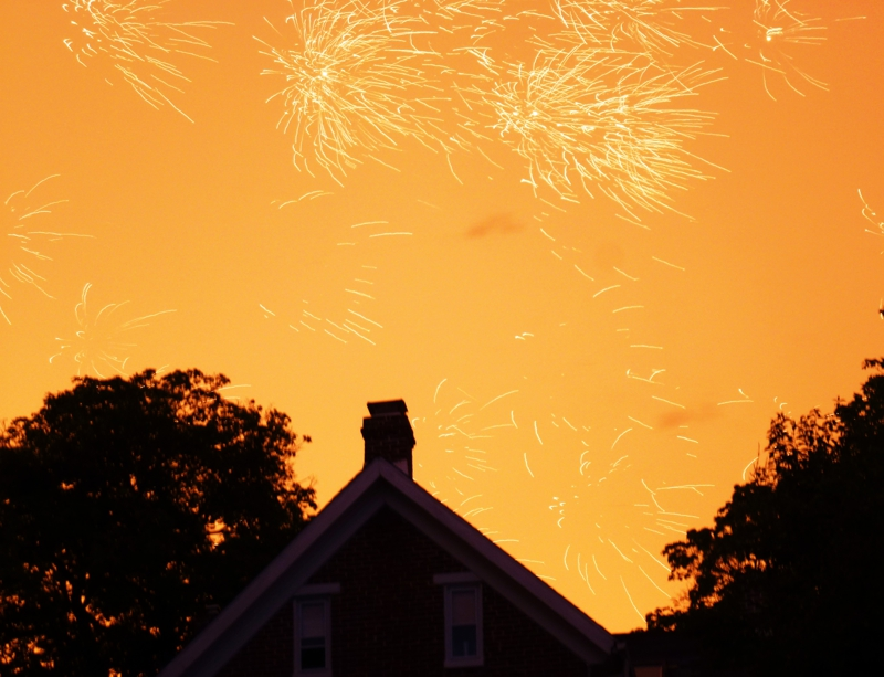 Sunset, Fireworks, lightning 7.7.12