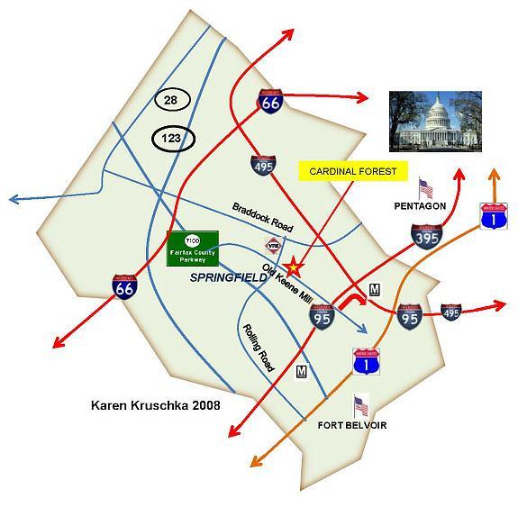 Cardinal Forest, Springfield VA Map