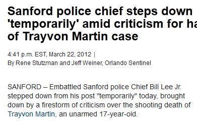 Sanford Police Chief steps down amid Trayvon Martin Case