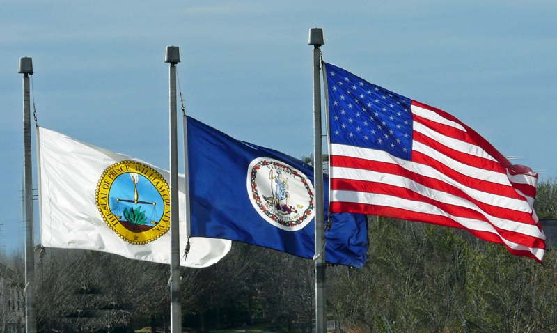 Prince William, Virginia and United Statees Flags