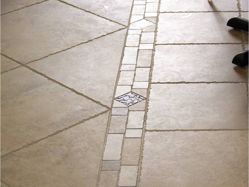 kitchen floor with border and metal