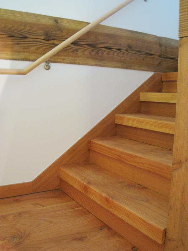 Stair treads from tree harvested on site