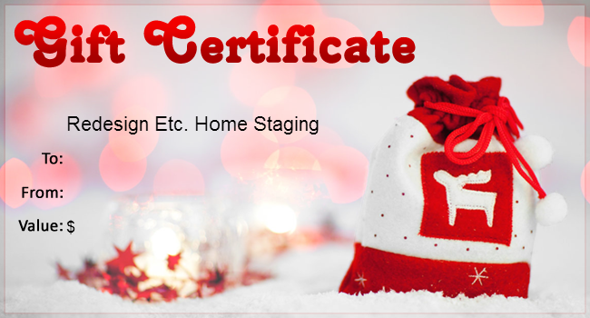 Redesign Etc. Home Staging Christmas Gift Certificate