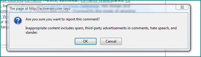 Report Spam Pop Up