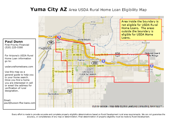 USDA Rural Development Guaranteed Home Loan MAP for Yuma CITY