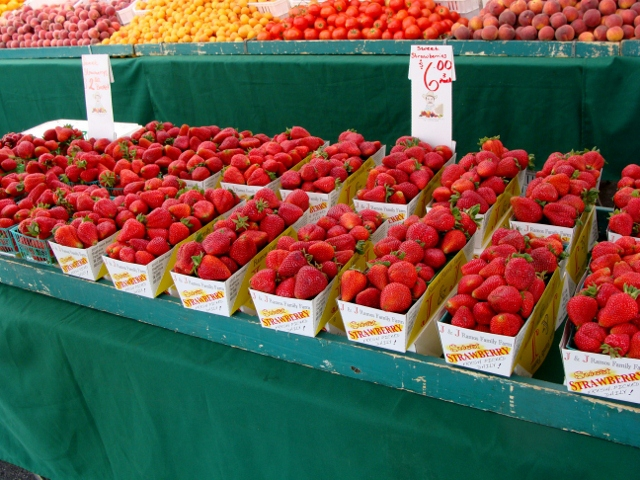 Strawberries at the Turlock Farmers Market