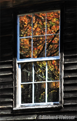 Fall leaves reflected in window at Mingus Mill