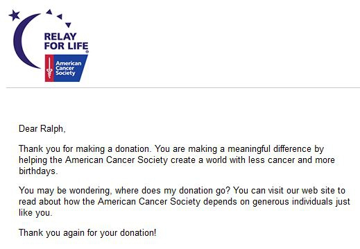 I just made a $50 donation to the American Cancer Society's Relay ...