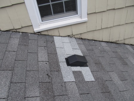New vent termination with new shingles around