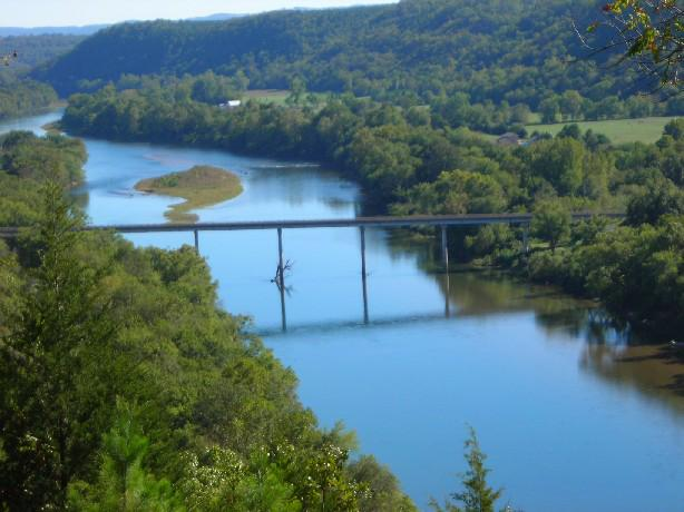 White River, Highway Bridge, Trees, Water, Hills