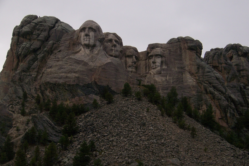 Mount Rushmore in the rain