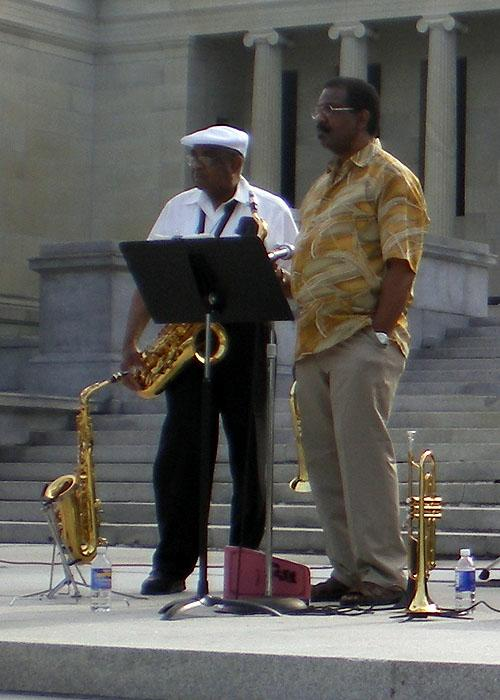 Music on the back steps of the Albright Knox Art Gallery