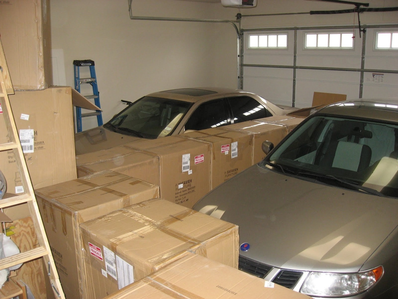 Moving Boxes in Garage