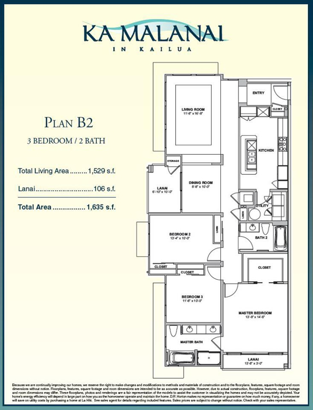 Ka Malanai In Kailua New Condos Update 3 Bedroom Floor Plan