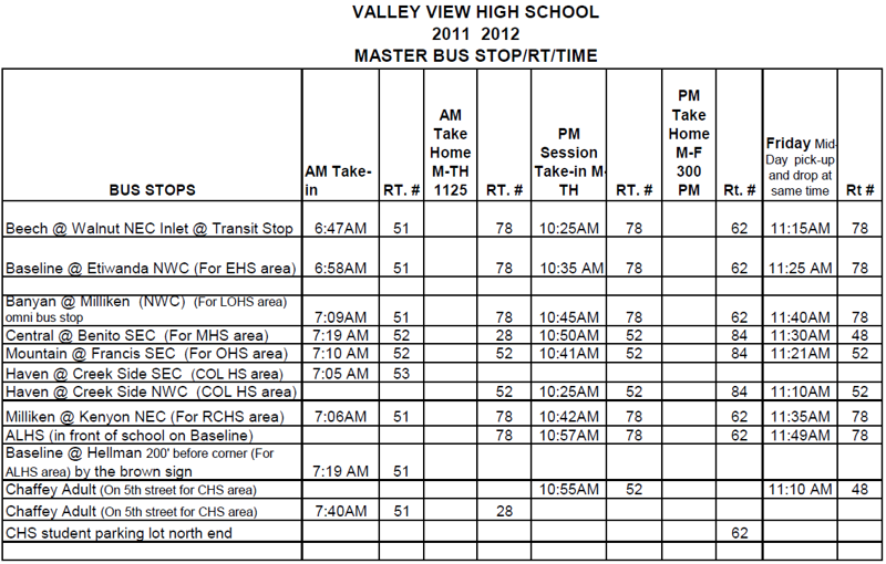 bus schedules: