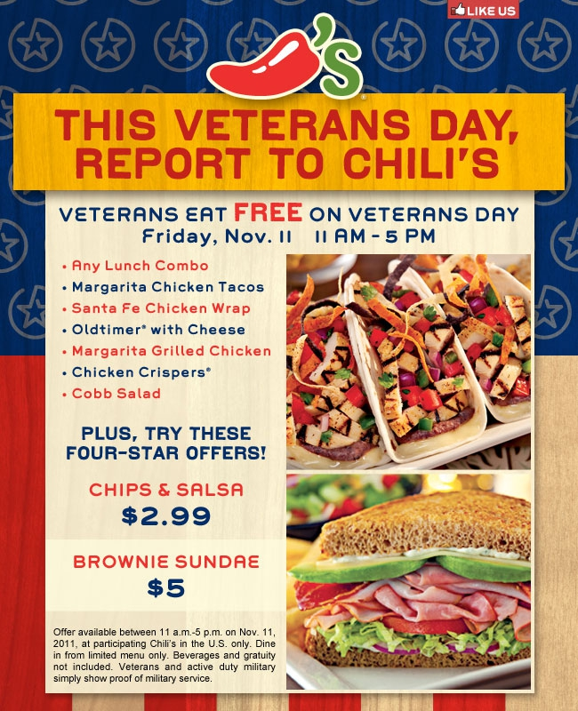 chili s bar and grill honoring our veterans on november 11 2011