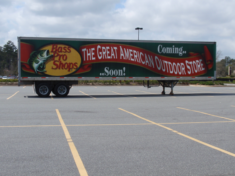 Bass Pro Shop Advertising on Semi-Trailer