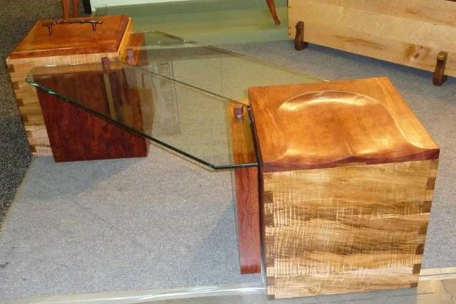 Wood and glass coffee table HomeRome.com