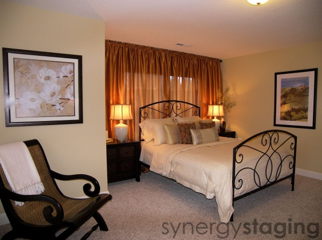Master Bedroom staged by Synergy Staging in Happy Valley OR