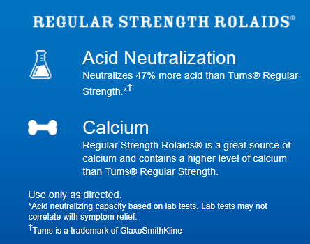 Rolaids compared to Tums