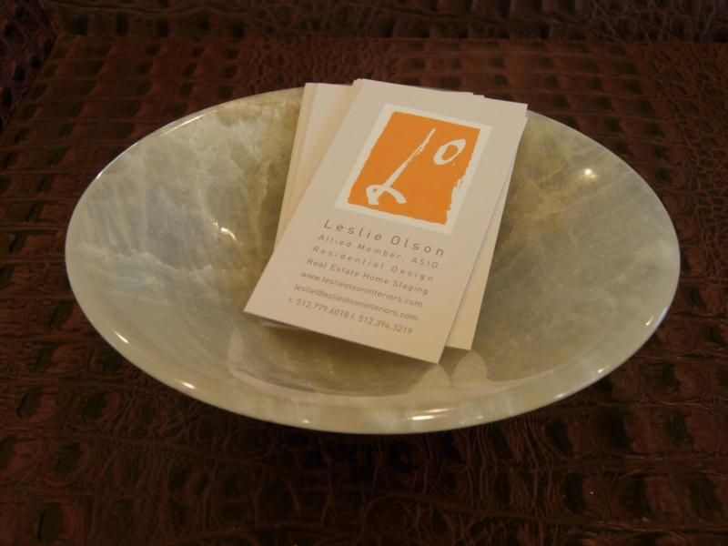 Marble Bowl on Croc Leather Tray