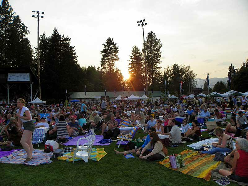 The sun sets as the crowd settles in at the Festival at Sandpoint