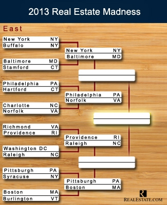 The bracket for the East region in Real Estate Madness, our version of the March Madness tournament