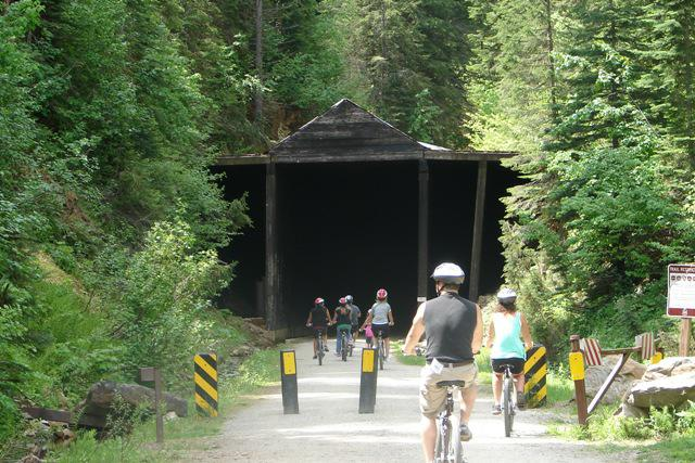 Entering the 1.8 mile Tunnel on Hiawatha Trail