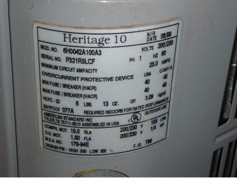 ID plate for a typical compressor unit
