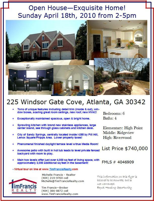 225 Windsor Gate Cove - Sandy Springs GA 30342 - Open House Sunday 04/18/2010 from 2-5!