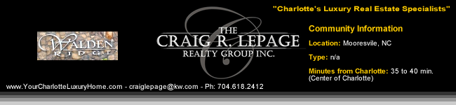 Walden Ridge / Mooresville NC / Charlotte Luxury Real Estate / Luxury Homes