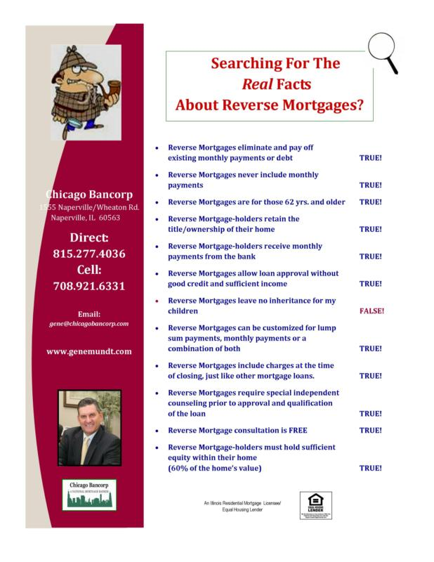 Gene Mundt Chicago Bancorp Reverse Mortgage Fact Sheet