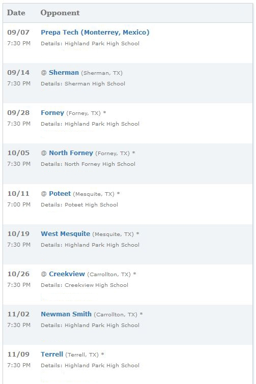 Highland Park Scots High School Football Schedule 2012-2013
