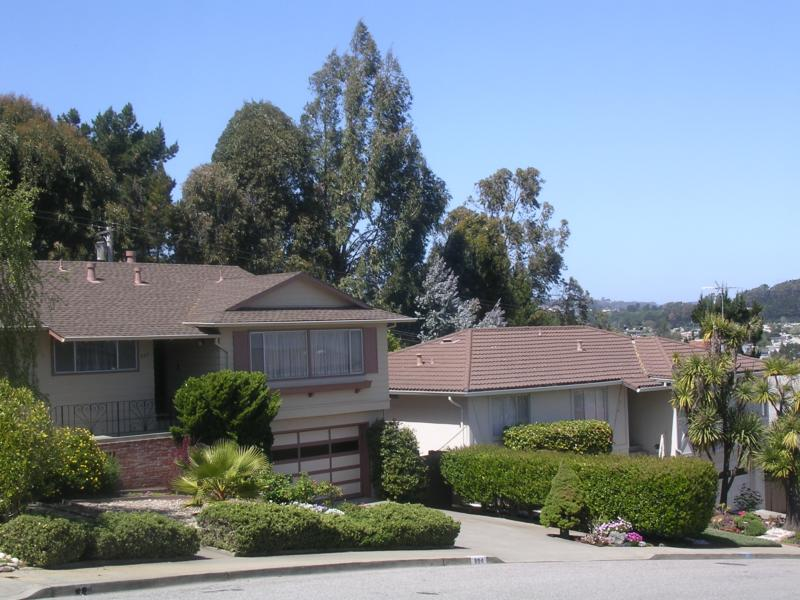 Houses tucked on the hills of Miilbrae