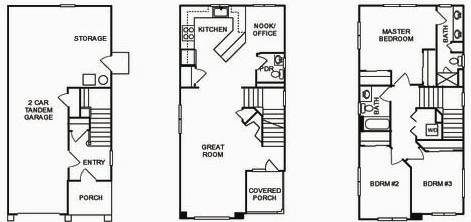 Meadow Crossing, Townhouse Floor Plan for Cypress