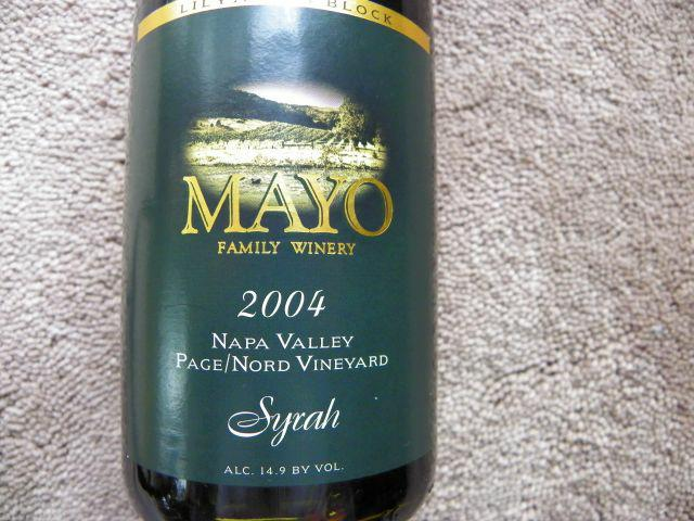 Bottle of very limited edition Mayo wine from Napa Valley