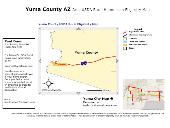Usda Rural Development Guaranteed Home Loan Map For Yuma