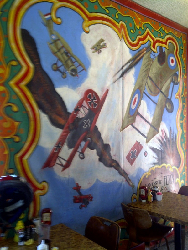 Airplane mural at Sky Rider Cafe