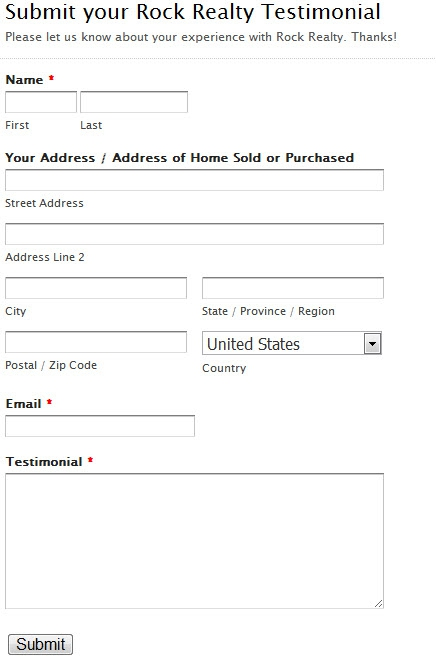 Adding a 'Submit Testimonial' Form to your Website - REOPro ...