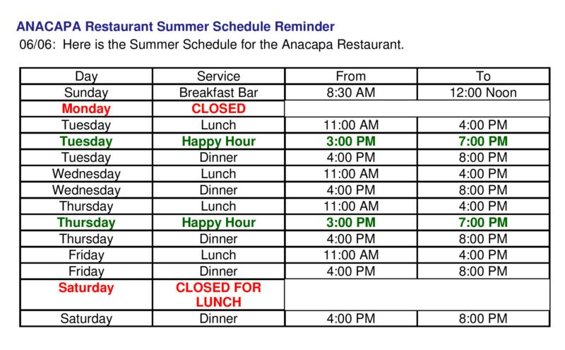 Anacapa Restaurant summer hours