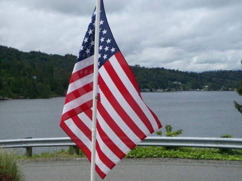 Flag for Memorial Day on Big Lake