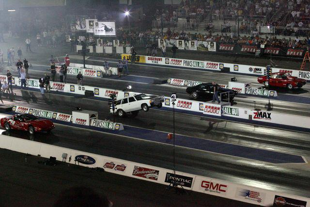 Zmax dragway in charlotte history making 4 wide drag for Charlotte motor speedway drag racing
