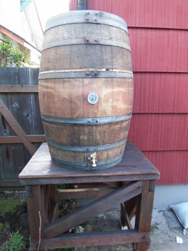 how to make a rain barrel from a wine barrel