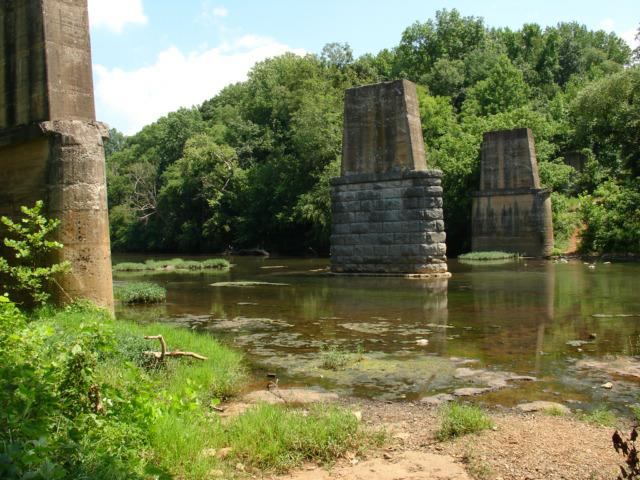 Old L & N Railroad supports and the Flint River