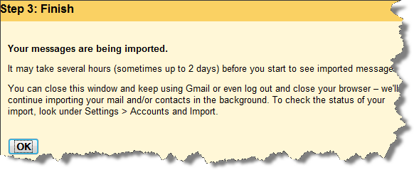 Gmail finish import