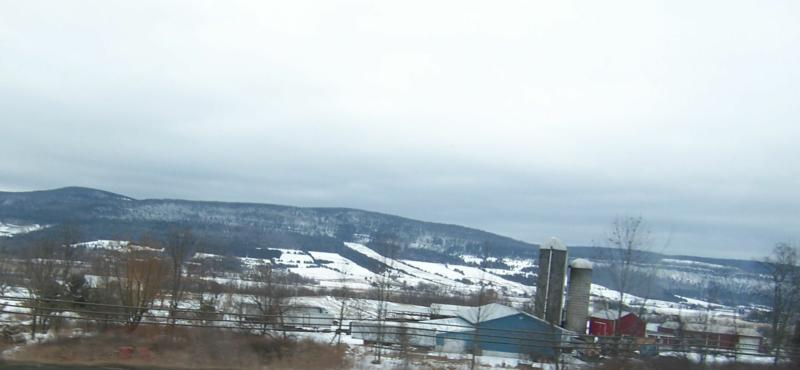 Snow covered hills on the way to Oneonta NY